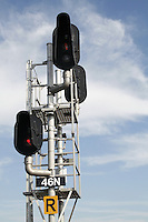 Railway Signals against Blue Sky and Cirrus Cloud