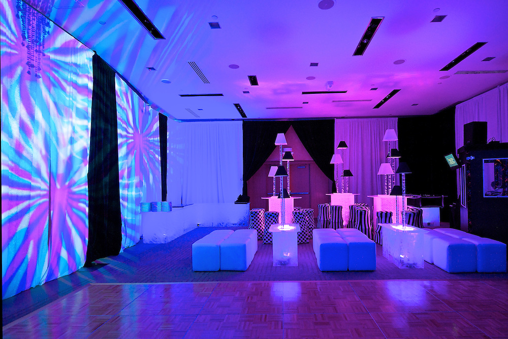 The room transformed into a club/lounge feel for a B'Nai Mitzvah at The W Hotel New York