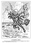 """A Wandering Sprite. (""""My first duty will be to journey abroad, not only to go to Washintgton, but also, I think, to Moscow.""""  Viscount Beaverbrook in the House of Lords.) (Beaverbrook as a fairy carries his diplomatic bag of Production)"""