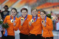OLYMPICS: SOCHI: Adler Arena, 22-02-2014, Team Pursuit, TeamNL (NED), Marrit Leenstra, Jorien Ter Mors, Lotte van Beek, Ireen Wüst, ©photo Martin de Jong