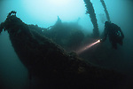 Diver exploring the wreck of the P&O liner Salsette, which was torpedoed in WW1