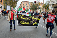 Roma 15 Novembre 2014<br /> Manifestazione, organizzata dai comitati di quartiere delle periferie  di Roma contro l'amministrazione del sindaco Ignazio Marino. Nella foto: Andrea Insabato (L) di Fronte Romano<br /> Rome November 15, 2014<br /> Demostration organized by neighborhood associations in the suburbs of Rome against the administration of Mayor Ignazio Marino. Pictured: Andrea Insabato (L) Front Romano