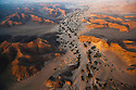 Namibia;  Namib Desert, Skeleton Coast,  aerial view of Hoanib River valley, habitat for desert elephants