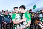Ballydonoghue winners of the Final of the Bernard O Callaghan North Kerry Senior Football Championship, sponsored by McMunns Bar and Restaurant Ballybunion, St.Senans V Ballydonoghue  at Frank Sheehy Park, Listowel on Sunday. Pictured Paul Kennelly and Thomas Kennelly