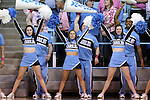 19 February 2015: UNC cheerleaders. The University of North Carolina Tar Heels hosted the Wake Forest University Demon Deacons at Carmichael Arena in Chapel Hill, North Carolina in a 2014-15 NCAA Division I Women's Basketball game.