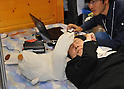 "Nobember 9, 2011, Tokyo, Japan - ""Jukusui-kun, "" a healthcar robot developed by Waseda University for sleep apnea syndrome is demonstrated during the International Robot Exhibition 2011 opened in Tokyo on Wednesday, November 9, 2011. The three-day trade show, sponsored by the Japan Robot Association, was designed promote new products and develop new business through contributing the promotion of new technology. (Photo by Natsuki Sakai/AFLO) [3615] -mis-.."