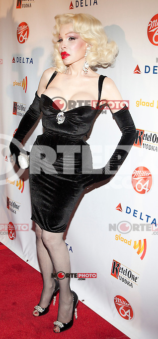 Amanda Lepore at GLAAD Manhattan in New York City.  August 7, 2012.  &copy; Laura Trevino/Media Punch Inc. /Nortephoto.com<br />