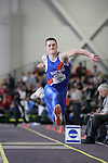 12 MAR 2011: Carl Luxhoj of the U.S. Coast Guard Academy triple jumps during the Division III Men's and Women's Indoor Track and Field Championships held at the Capital Center Fieldhouse on the Capital University campus in Columbus, OH.  Jay LaPrete/NCAA Photos