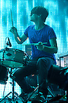 "WASHINGTON, DC - June 3rd, 2012 - Jonny Greenwood of Radiohead plays drums as the band performs the song ""Bloom"" at the Verizon Center in Washington, D.C.  (Photo by Kyle Gustafson/For The Washington Post)"