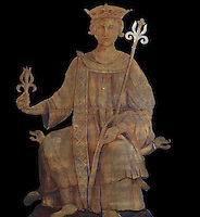 Wooden statue of the royal seal of King Louis IX of France, 1914, for the 700 anniversary of his birth, Collegiale Notre-Dame de Poissy, a catholic parish church founded c. 1016 by Robert the Pious and rebuilt 1130-60 in late Romanesque and early Gothic styles, in Poissy, Yvelines, France. Saint Louis was baptised here in 1214. The Collegiate Church of Our Lady of Poissy was listed as a Historic Monument in 1840 and has been restored by Eugene Viollet-le-Duc. Picture by Manuel Cohen