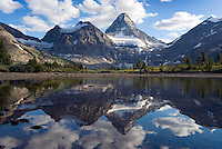 The Highline trail, Alberta and British Columbia, Canada, August 2008. Mt Assiniboine mirrors in a tarn. The Banff Highline trail can be hiked in 7 days and runs through Banff National park as well as Assiniboine Provincial park. Photo by Frits Meyst/Adventure4ever.com