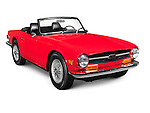 Red 1969 Triumph TR6 classic retro car isoalted on white background with clipping path