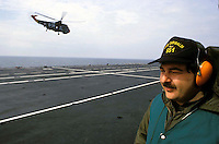 "The Italian aircraft carrier  ""G. Garibaldi"" ..Antisubmarine helicopters SH-3D..Flight deck staff"