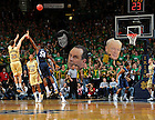Feb. 28, 2011; Ben Hansbrough shoots a three point basket against Villanova...Photo by Matt Cashore