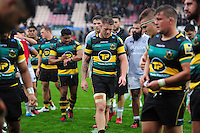 Teimana Harrison of Northampton Saints leaves the field dejected after the match. Aviva Premiership match, between Northampton Saints and Bath Rugby on September 3, 2016 at Franklin's Gardens in Northampton, England. Photo by: Patrick Khachfe / Onside Images