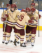 Edwin Shea (BC - 8), Kevin Hayes (BC - 12), Chris Kreider (BC - 19), Destry Straight (BC - 17), Tommy Cross (BC - 4) - The Boston College Eagles defeated the Air Force Academy Falcons 2-0 in their NCAA Northeast Regional semi-final matchup on Saturday, March 24, 2012, at the DCU Center in Worcester, Massachusetts.