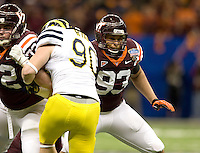 Isaiah Hamlette of Virginia Tech in action during Sugar Bowl game against Michigan at Mercedes-Benz SuperDome in New Orleans, Louisiana on January 3rd, 2012.  Michigan defeated Virginia Tech, 23-20 in first overtime.