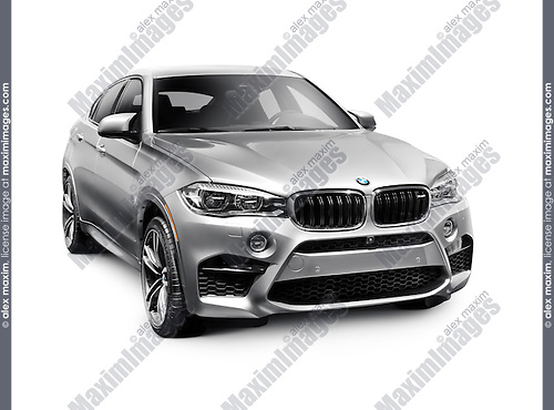 Silver 2016 BMW X6 M crossover SUV luxury car isolated on white background with clipping path