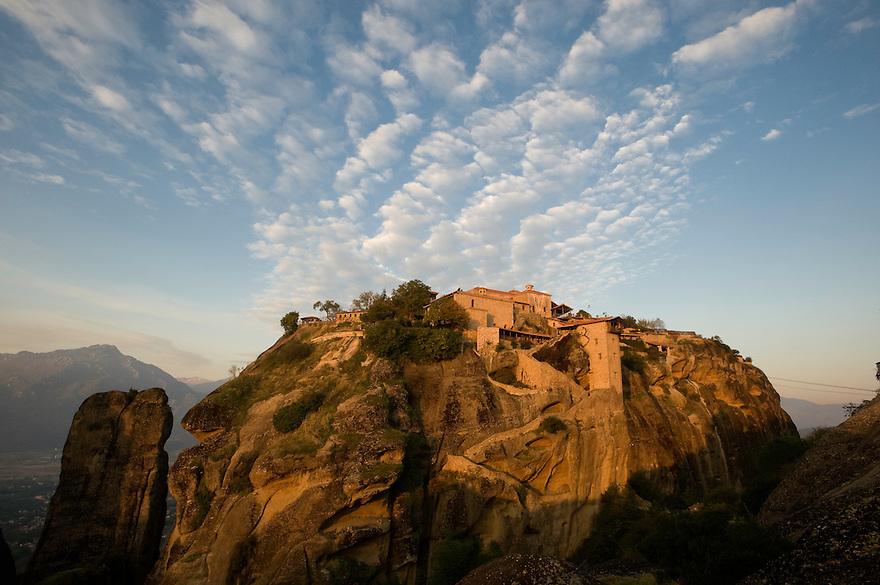Greece, Meteora, Great Meteoron Monastery in sunrise