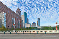 This is another view of the seven wonder art exhibit  along with the Houston skyline that run along side the Wortham Center in the Art District cityscape.  Each one of the colums is 70 ft tall and were created using children art. Watermark will not appear on image