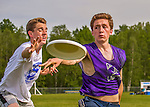 29 May 2015: Colchester High School plays Brattleboro in the first round of the VYUL State Ultimate Disk Championships at Bombardier Park in Milton, Vermont. Mandatory Credit: Ed Wolfstein Photo *** RAW (NEF) Image File Available ***