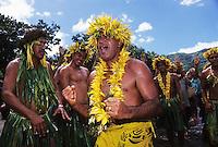 "Kimitete Lucien, mayor of Nuku Hiva, Marquesas, welcoming arrival of canoes at Taiohae, Nuku Hiva, 1995 Voyage, ""Na Ohana Holo Moana,"" April 14, 1995."