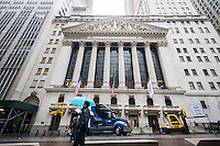 The front of the New York Stock Exchange on Wednesday, November 9, 2016, the day after Election Day and Donald Trump's win over Hillary Clinton. Stocks fluctuated after the Republican's win although any uncertainty and trepidation is mitigated by the consensus that Trump will initiate business friendly policies.  (© Richard B. Levine)