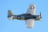 Tom Camp makes a pass down the flightline in a General Motors built FM-2 Wildcat during the California Capital Airshow in March of 2006. Grumman Aircraft originally designed the plane in 1935 and was the first all-metal, carrier launched, monoplane fighter purchased by the U.S. Navy. Though it was outclassed by faster and more maneverable Japanese aircraft the little fighter performed well until more advanced replacements arrived. Photographed 03/06