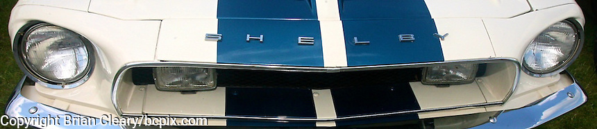 A Classic Ford Mustang Shelby grille detail,  web banner photo, 1200x250 or 500x100 pixels. (Photo by Brian Cleary/www.bcpix.com) 1200x250 pixels and 500x100 pixels available.