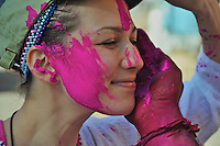 Tourists getting covered also in paint.The festival celebrated all over India the Holi Festival Jaipur India