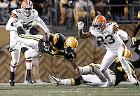 PITTSBURGH, PA - DECEMBER 08:  Rashard Mendenhall #34 of the Pittsburgh Steelers dives with the ball in front of Joe Haden #23 of the Cleveland Browns during the game on December 8, 2011 at Heinz Field in Pittsburgh, Pennsylvania.  (Photo by Jared Wickerham/Getty Images)