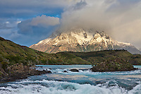 Lago Grey and clouds over the summit of Paine Grande mountain in the Tores del Paine National Park, Chile