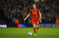 WEST BROMWICH, ENGLAND - Wednesday, September 26, 2012: Liverpool's Jordan Henderson in action against West Bromwich Albion during the Football League Cup 3rd Round match at the Hawthorns. (Pic by David Rawcliffe/Propaganda)