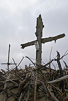 crucifix monument on sand dunes near Nida, Curonian spit, Lithuania