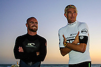 Dave Neilsen (AUS) and Dave Reardon Smith (AUS) .Cottesloe Beach, Perth, Western Australia, Saturday August 18 2001..A round of  The Quiksilver Airshow International Series, with $20,000 in prize-money was run today at Cottesloe Beach. The Quiksilver Airshow is the richest and most spectacular surfing event to be staged at a Perth Beach. The contest is based around the futuristic moves of aerial surfing, where each surfer  is judged on their best two aerial manoeuvres in each heat. (Photo: joliphotos.com)