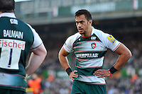 Peter Betham of Leicester Tigers looks on during a break in play. Aviva Premiership match, between Leicester Tigers and Wasps on November 1, 2015 at Welford Road in Leicester, England. Photo by: Patrick Khachfe / Onside Images