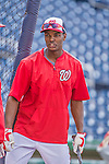 22 May 2015: Washington Nationals outfielder Michael Taylor steps out of the batting cage prior to a game against the Philadelphia Phillies at Nationals Park in Washington, DC. The Nationals defeated the Phillies 2-1 in the first game of their 3-game weekend series. Mandatory Credit: Ed Wolfstein Photo *** RAW (NEF) Image File Available ***