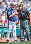 14 March 2016: Atlanta Braves Manager Fredi Gonzalez chats with home plate umpire Joe West during a Spring Training pre-season game against the Tampa Bay Rays at Champion Stadium in the ESPN Wide World of Sports Complex in Kissimmee, Florida. The Braves shut out the Rays 5-0 in Grapefruit League play. Mandatory Credit: Ed Wolfstein Photo *** RAW (NEF) Image File Available ***