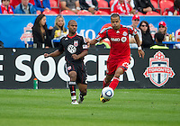 11 September 2010: D.C. United defender Julius James #21and Toronto FC forward Maicon Santos #29 in action during a game between DC United and Toronto FC at BMO Field in Toronto..DC United won 1-0..