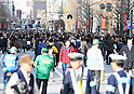 "January 23, 2011, Tokyo, Japan - Police patrol ""Pedestrian Paradise"" in Tokyofs Akihabara district on Sunday, January 23, 2011. A record crowd of about 100,000 shoppers and tourists returned to Japanfs electronics capital as the pedestrian-only shopping zone reopened for the first time in two years and seven months after the 2008 stabbing rampage that left seven dead and 10 others injured. (Photo by AFLO) [3620] -mis-"