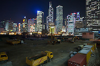 Land reclamation along the waterfront in Central, Hong Kong, part of an ongoing project to reclaim land from Victoria harbour between Central and North Point. Central's previous Star Ferry terminal was loacted here, and was controversially demolished in late 2006