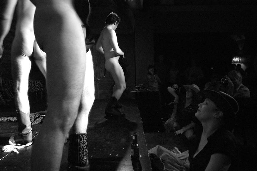Male dancers of the Shameless Dames perform during the Honky Tonk Ho Down at the Gladstone Hotel.