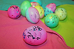 Easter eggs with pink and other pastels and sparkles