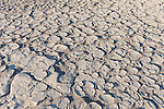 Death Valley National Park, California; polygon-cracked clay from an ancient lakebed forms the floor of the Mesquite Flat Sand Dunes