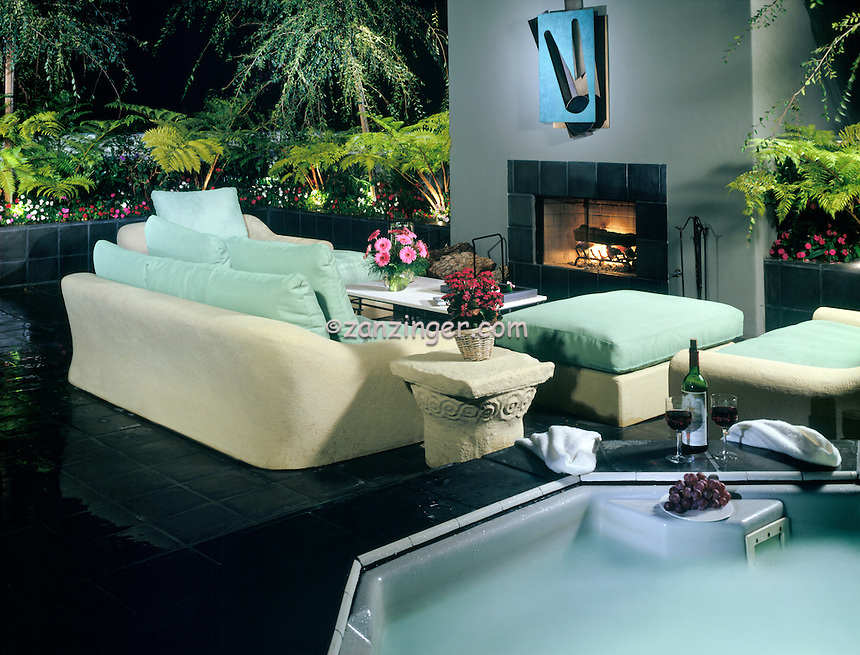 Sinatra, Residential, exterior, Spa, Night, Fireplace, Seating, lifestyle; decor .jpg