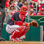 11 September 2016: Washington Nationals catcher Wilson Ramos glances back to the dugout for a sign during a game against the Philadelphia Phillies at Nationals Park in Washington, DC. The Nationals edged out the Phillies 3-2 to take the rubber match of their 3-game series. Mandatory Credit: Ed Wolfstein Photo *** RAW (NEF) Image File Available ***