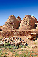 "Pictures of the beehive adobe buildings of Harran, south west Anatolia, Turkey.  Harran was a major ancient city in Upper Mesopotamia whose site is near the modern village of Altınbaşak, Turkey, 24 miles (44 kilometers) southeast of Şanlıurfa. The location is in a district of Şanlıurfa Province that is also named ""Harran"". Harran is famous for its traditional 'beehive' adobe houses, constructed entirely without wood. The design of these makes them cool inside. 8"