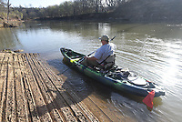 NWA Democrat-Gazette/FLIP PUTTHOFF <br /> GONE FISHIN'<br /> Danny Dutton of Greenland heads out on the White River for some fishing Saturday March 18 2017. Dutton launched his kayak at the White River Access, where Arkansas 45 crosses the river at Goshen.