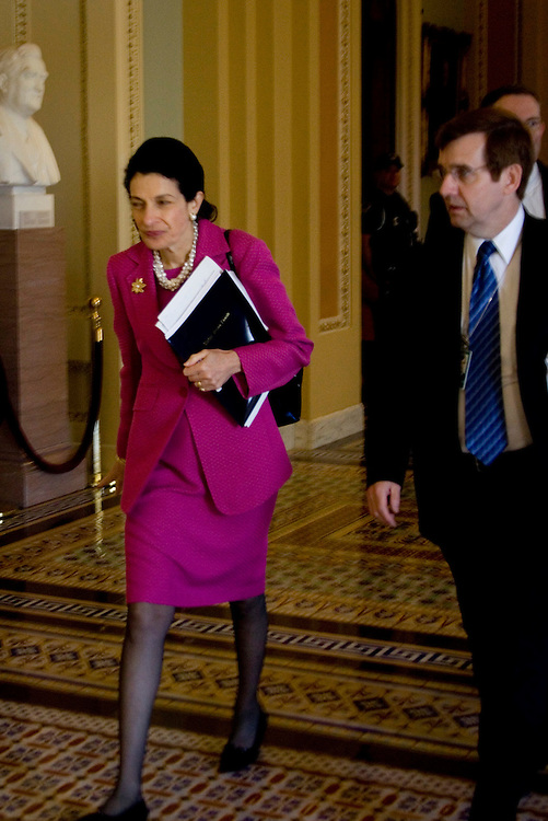 WASHINGTON, DC - July 8: Senator Olympia J. Snowe (R-Maine) heads into a meeting with Majority Leader Harry Reid (D-Nev.) on health care reform legislation. (Photo by Ryan Kelly/Congressional Quarterly)