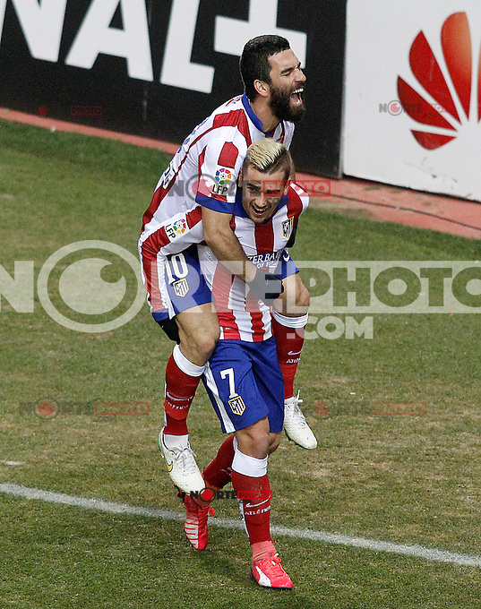 Atletico de Madrid's Antoine Griezmann (d) and Arda Turan cekebrate goal during La Liga match.January 24,2015. (ALTERPHOTOS/Acero) /NortePhoto<br />